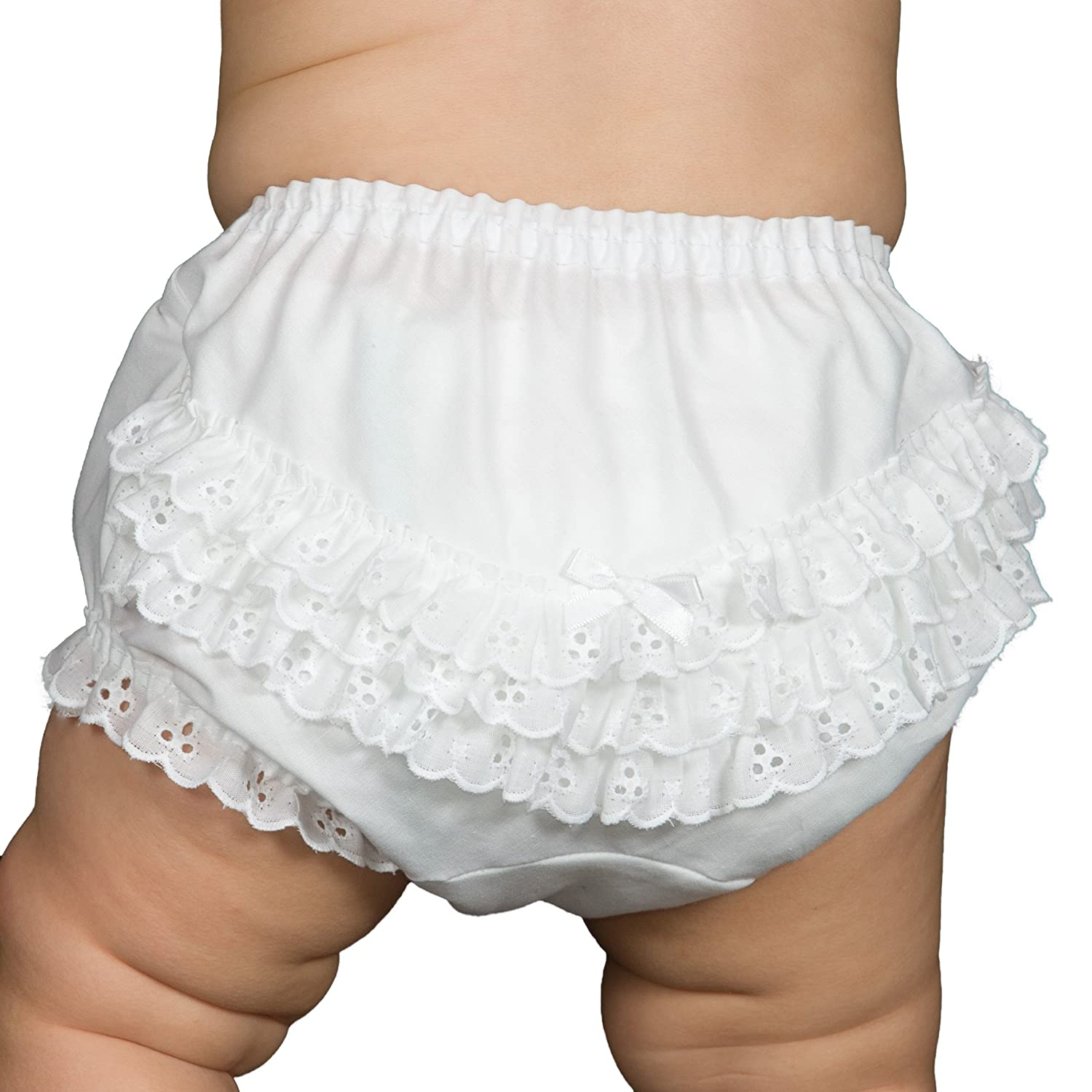 IC Collections Baby Girls White Batiste Rumba Diaper Cover Bloomers 000045wh