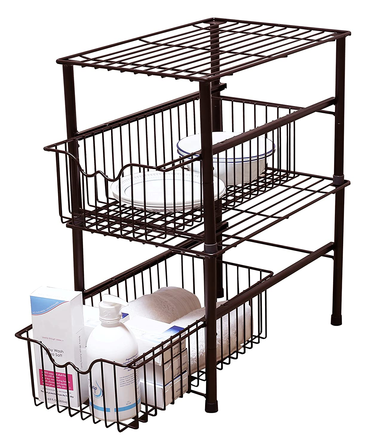 Uncategorized Sliding Basket Organizer amazon com decobros stackable under sink cabinet sliding basket organizer drawerbronze kitchen dining