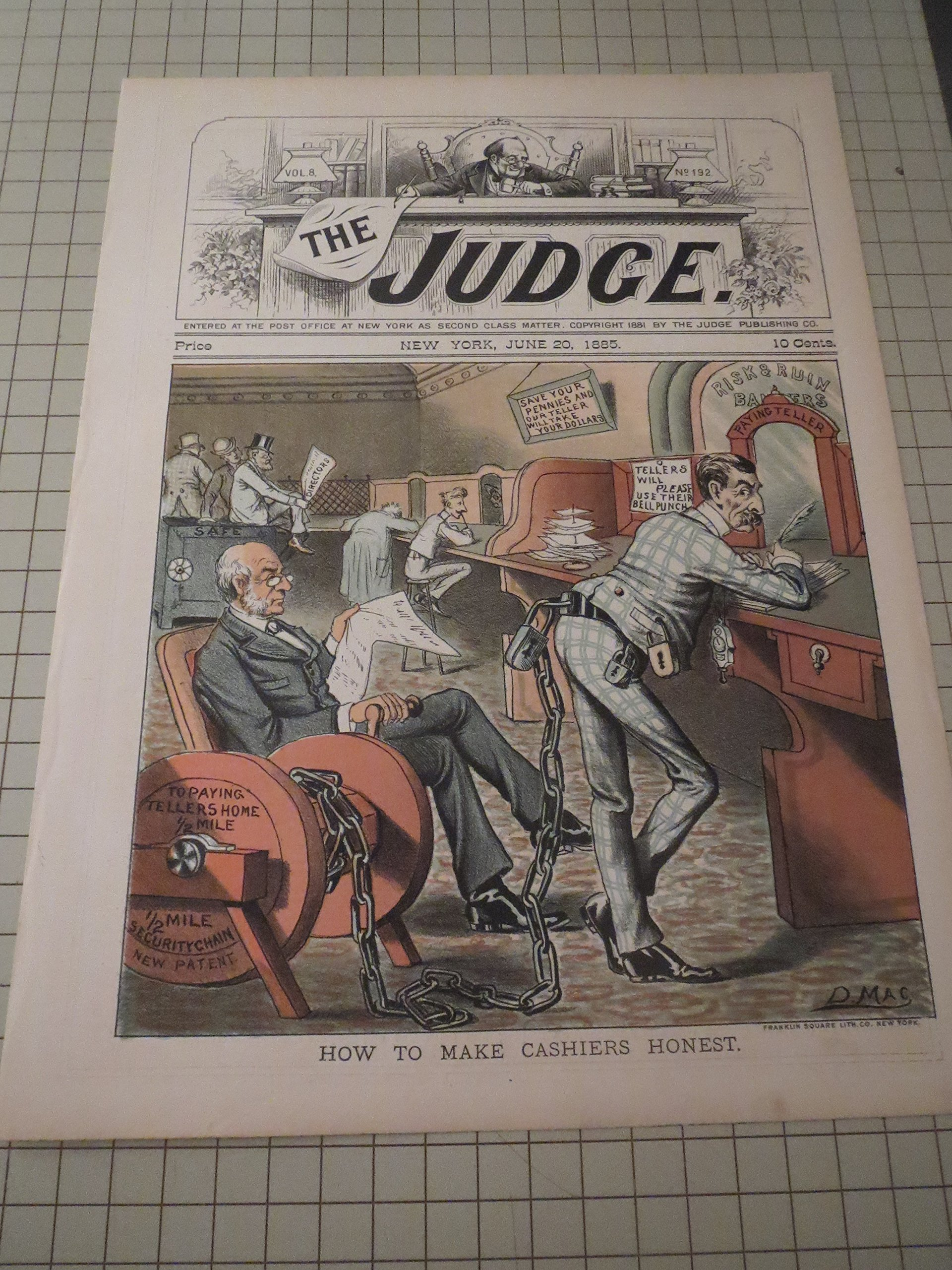 1885 The Judge Lithograph Of How To Make Cashiers Honest