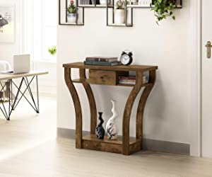 Nutmeg Brown Finish Curved Console Sofa Entry Hall Table with Shelf/Drawer