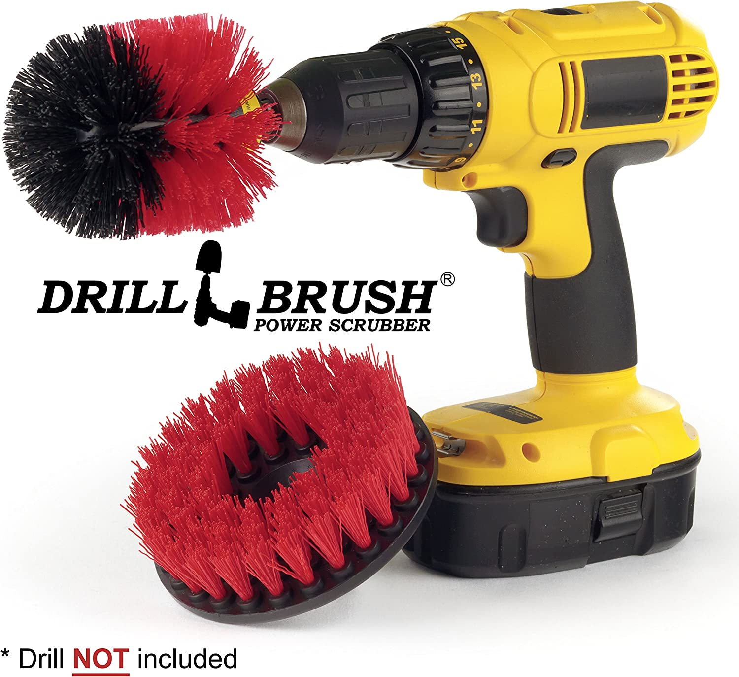 Drill Brush - Outdoor - Cleaning Supplies - Deck Brush - Bird Bath - Patio Furniture - Garden Statues - Water Fountain - Pond - Scrub Brush - Mold Remover- Grout Cleaner - Marble - Concrete - Brick