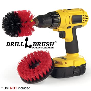 Drill Brush - Outdoor - Cleaning Supplies - Deck Brush - Bird Bath - Patio Furniture - Garden Statues - Water Fountain - Pond - Scrub Brush - Mold Remover- ...