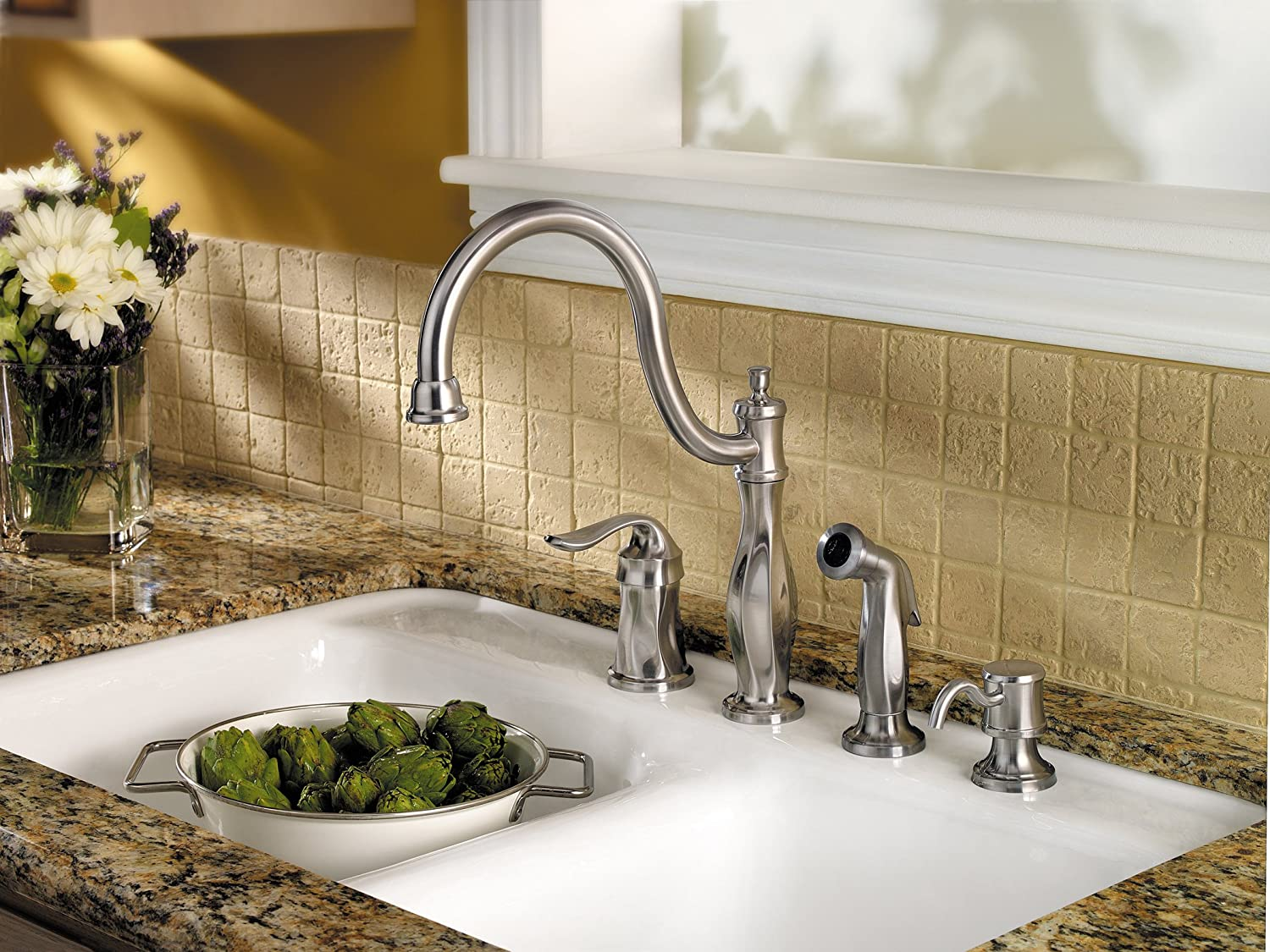 Pfister LF0264TWS Cadenza 1-Handle Kitchen Faucet with Side Spray and Soap Dispenser in Stainless Steel, Water-Efficient Model
