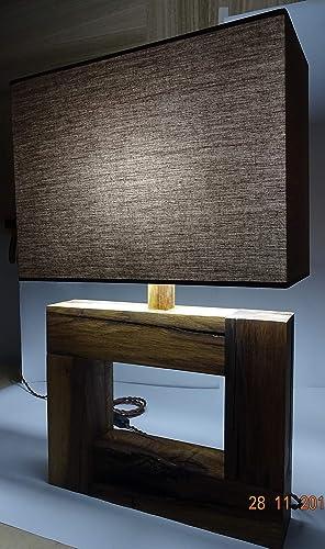 Lámpara madera de roble, con tulipa marrón hecho a mano y ...