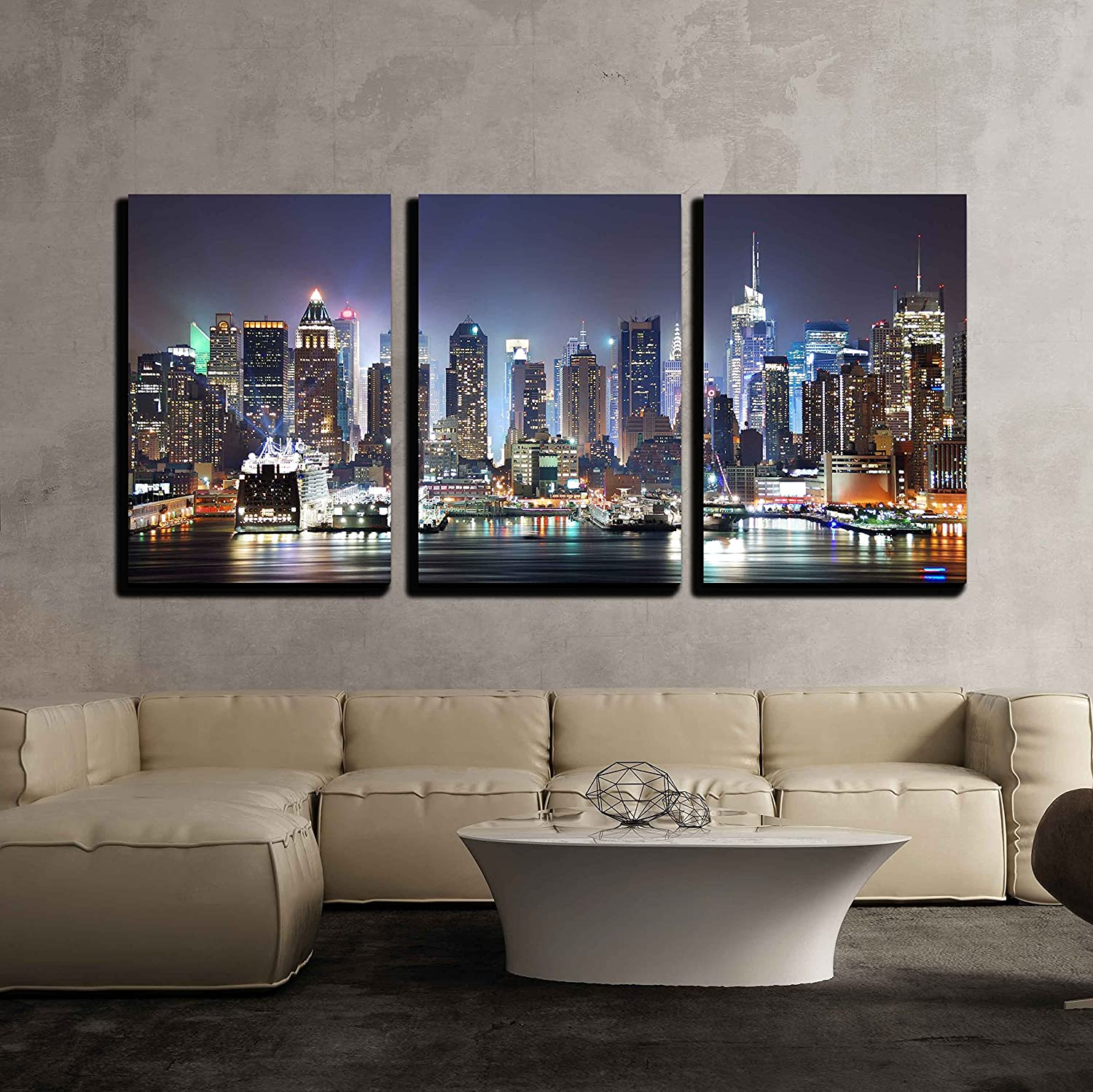 Amazon Com Wall26 3 Piece Canvas Wall Art New York City Manhattan Skyline Panorama At Night Modern Home Art Stretched And Framed Ready To Hang 16 X24 X3 Panels Home Kitchen