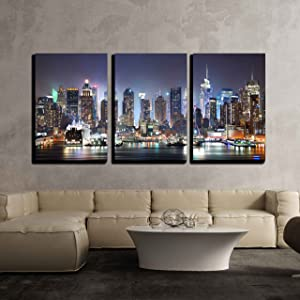wall26 - 3 Piece Canvas Wall Art - New York City Manhattan Skyline Panorama at Night - Modern Home Art Stretched and Framed Ready to Hang - 16