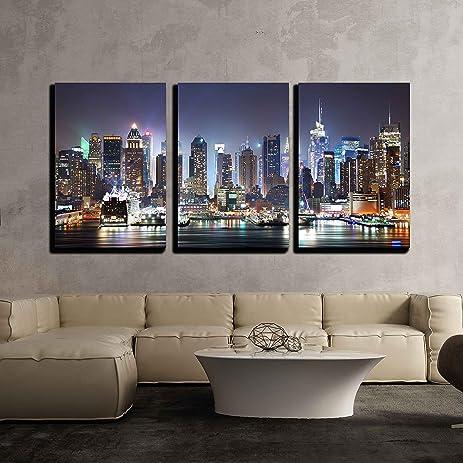 Wall26   3 Piece Canvas Wall Art   New York City Manhattan Skyline Panorama  At Night