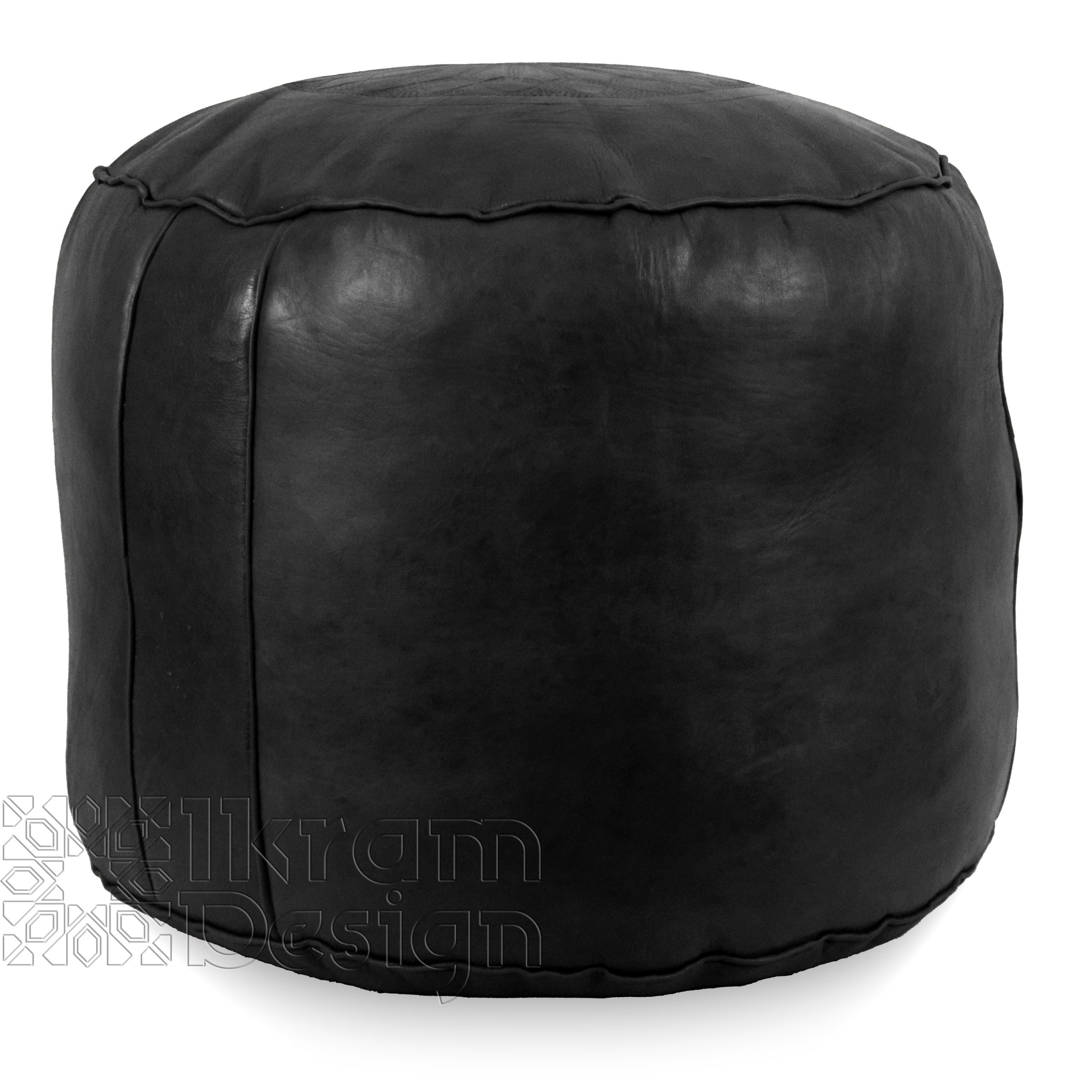 Stuffed Moroccan Pouf, Tabouret Pouffe, Ottoman, Poof, Color : Black by IKRAM DESIGN