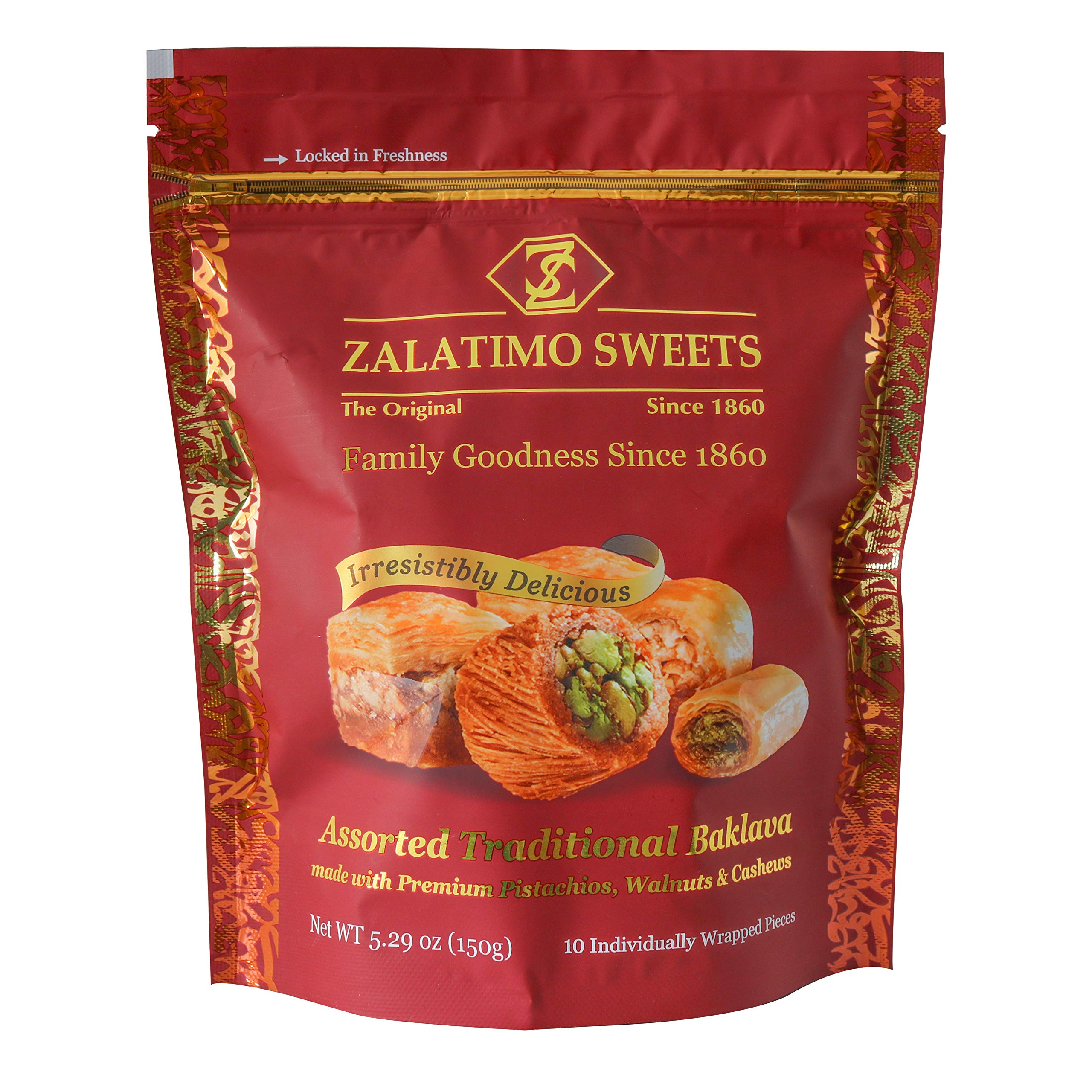 Zalatimo Assorted Traditional Baklava Pouch, 150 GM