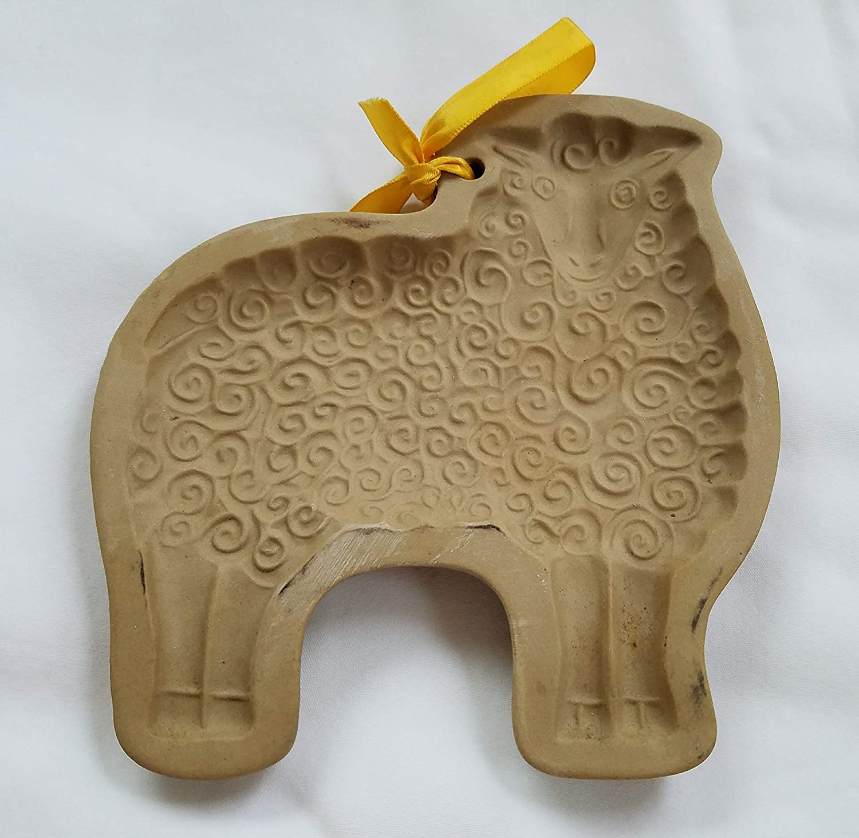 Vintage 1983 BROWN BAG Cookie Art Wooly Lamb Sheep Stoneware Mold