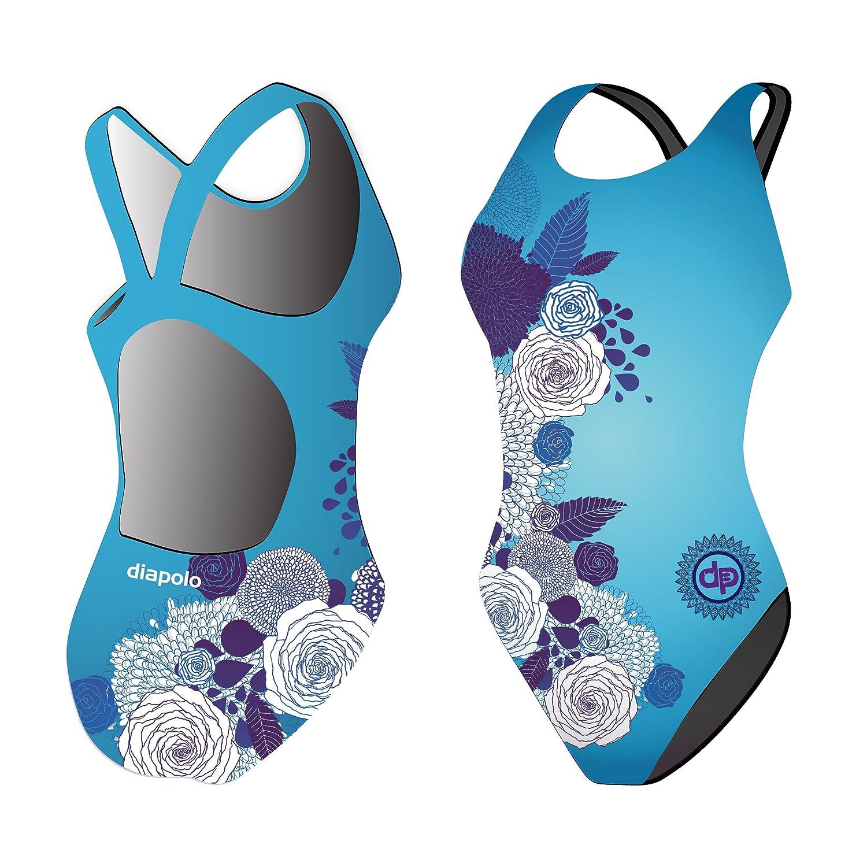 Diapolo Blue Flowers Badeanzug Design Kollektion für Schwimmen Synchronschwimmen Wasserball Thriathlon