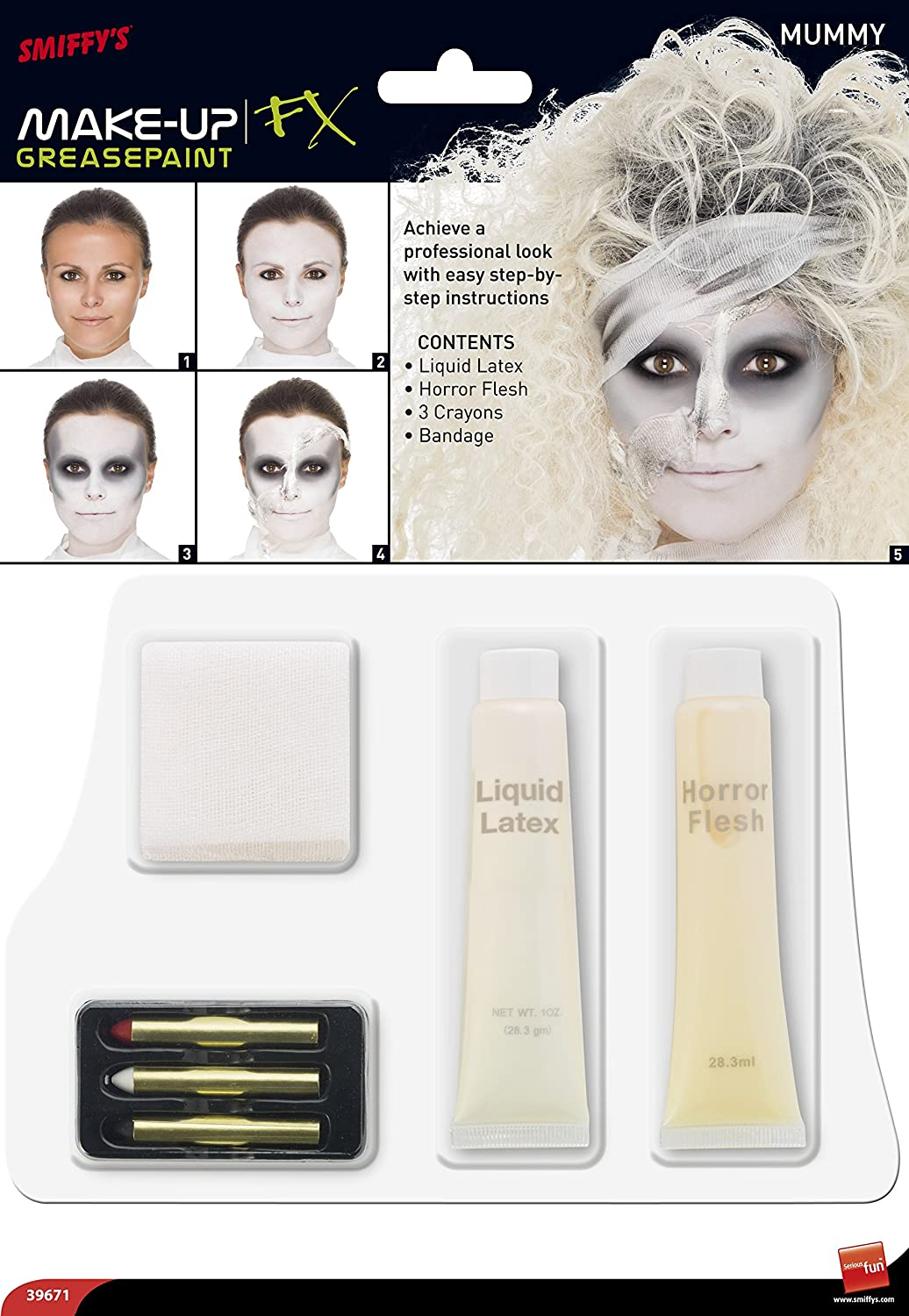 Smiffy\'s Mummy Special Effects Kit Includes Liquid Latex, Horror ...