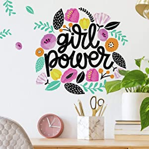 RoomMates Girl Power Peel and Stick Giant Wall Decals | Girls Room Decor