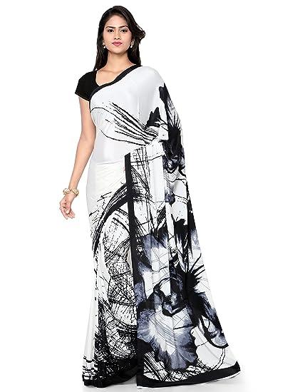 7291d5d22d Kvsfab Women's crepe silk saree,White & Black: Amazon.in: Clothing &  Accessories