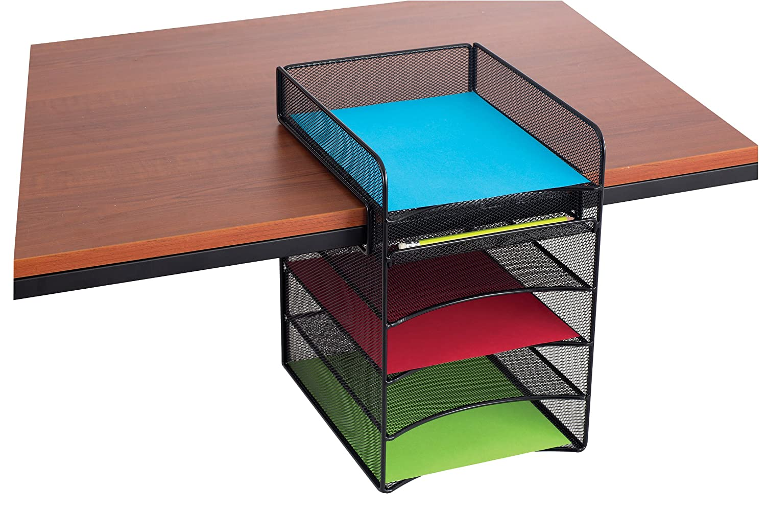 Amazon.com : Safco Products 3240BL Onyx Mesh Horizontal Hanging Desk Storage,  Black : Office Products