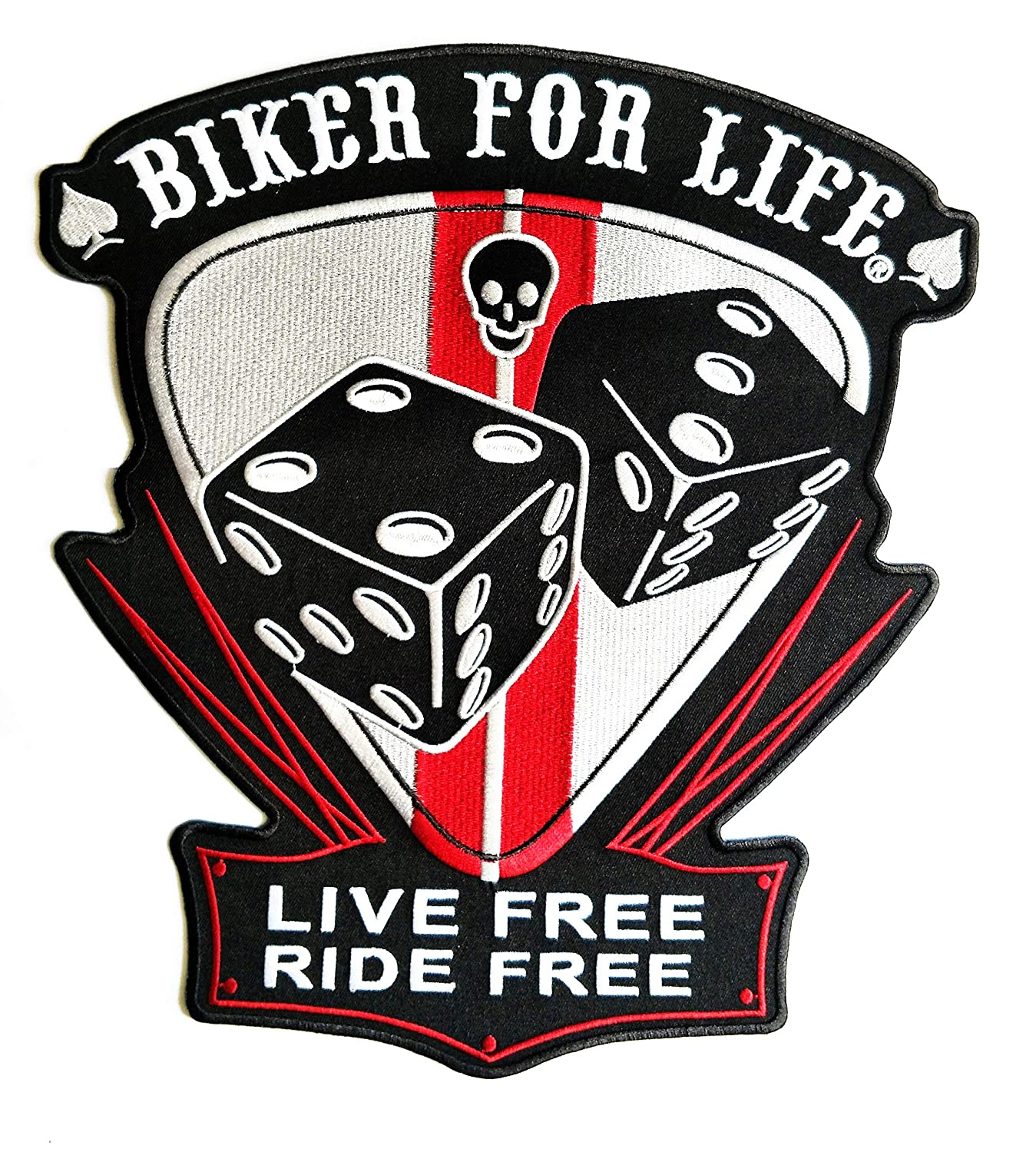 11.7'' X 11'' Big Jumbo for Life Live Free Ride Free Patch Logo Jacket t-Shirt Jeans Polo Patch Iron on Embroidered Logo Motorcycle Rider Biker Patch by Tour les jours Shop