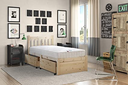 Somier de madera de pino con almacenamiento para cama individual pequeña de 80 cm - Pueden utilizarla adultos – Incluye dos grandes cajones inferiores ...