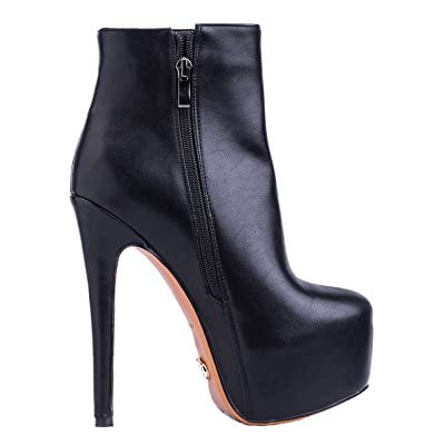 "PETIT CADEAU Jodi - Women's Trendy & Sexy Rounded Toe Ankle Boots with Side Zipper and Velvet Inner Lining Featuring 6"" Stiletto High Heels & 2"" Platform. Handmade to Perfection. 