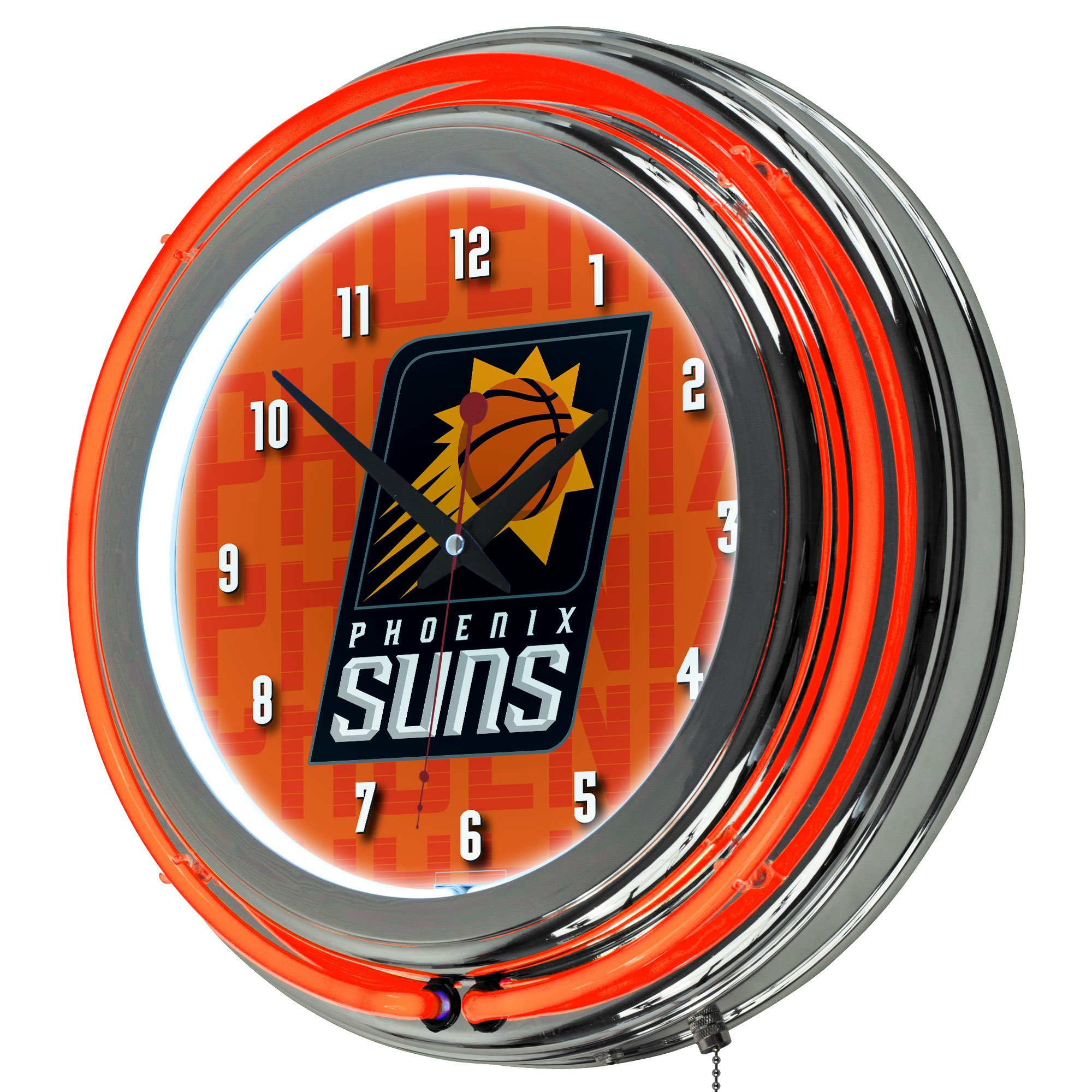 Trademark Gameroom NBA1400-PS3 NBA Chrome Double Rung Neon Clock - City - Pheonix Suns