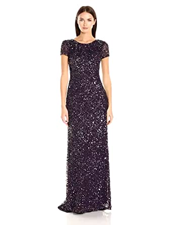 Adrianna Papell Women's Cap Sleeve Scoop Back Beaded Down Gown Lead Dress