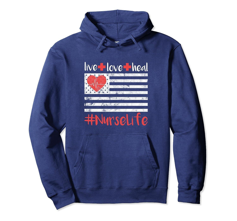 Nurse Hoodie Women Men Life Flag Live Love Heal Heartbeat-alottee gift