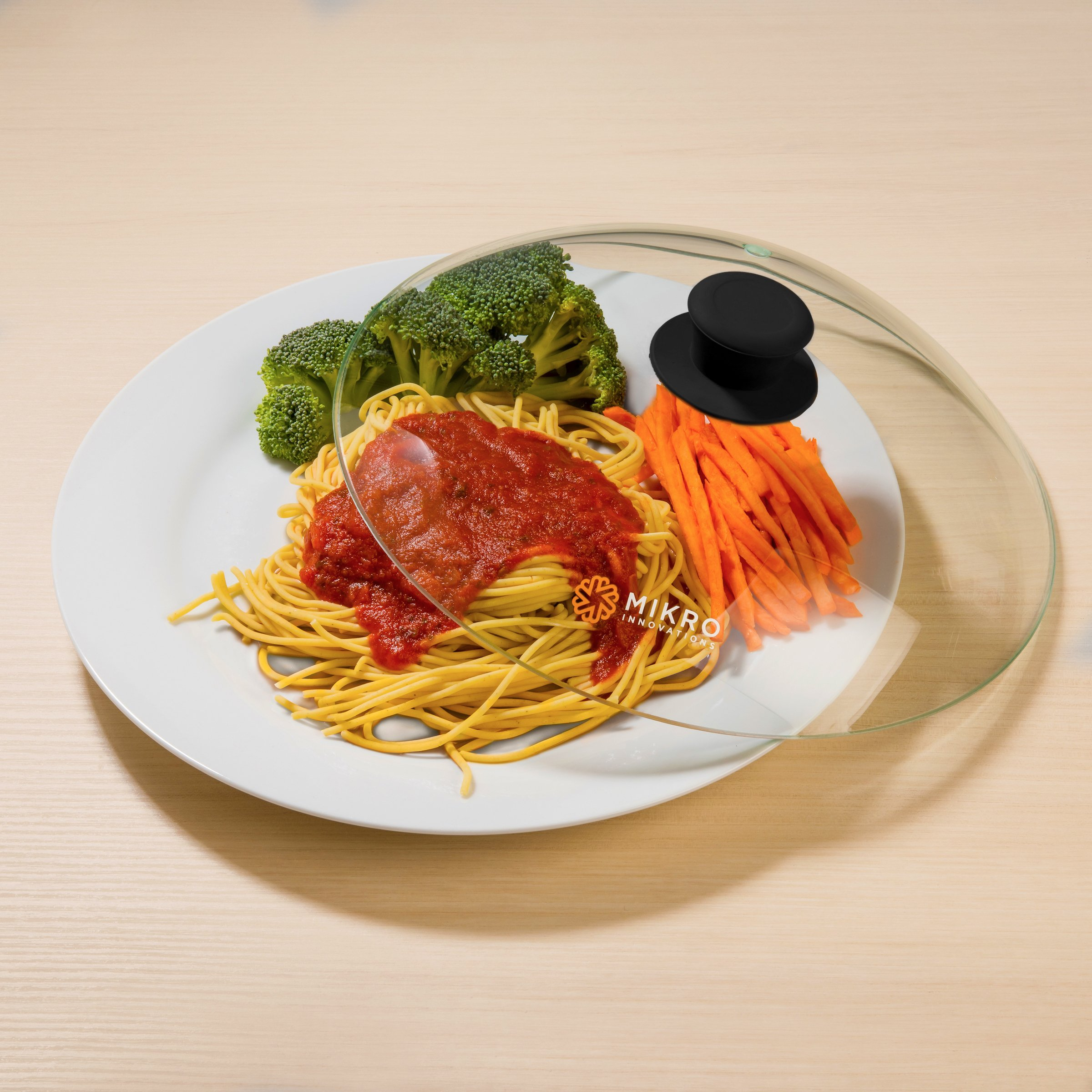 Vented Microwave Glass Food Plate Cover Lid with Firm Grip Silicone Handle and Hardened Safe Tempered Glass Design - Black Knob by Mikro Innovations (Image #4)