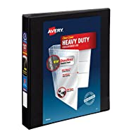 "Avery Heavy-Duty View Binder, 1"" One-Touch Slant Rings, 220-Sheet Capacity, DuraHinge, Black (79699)"