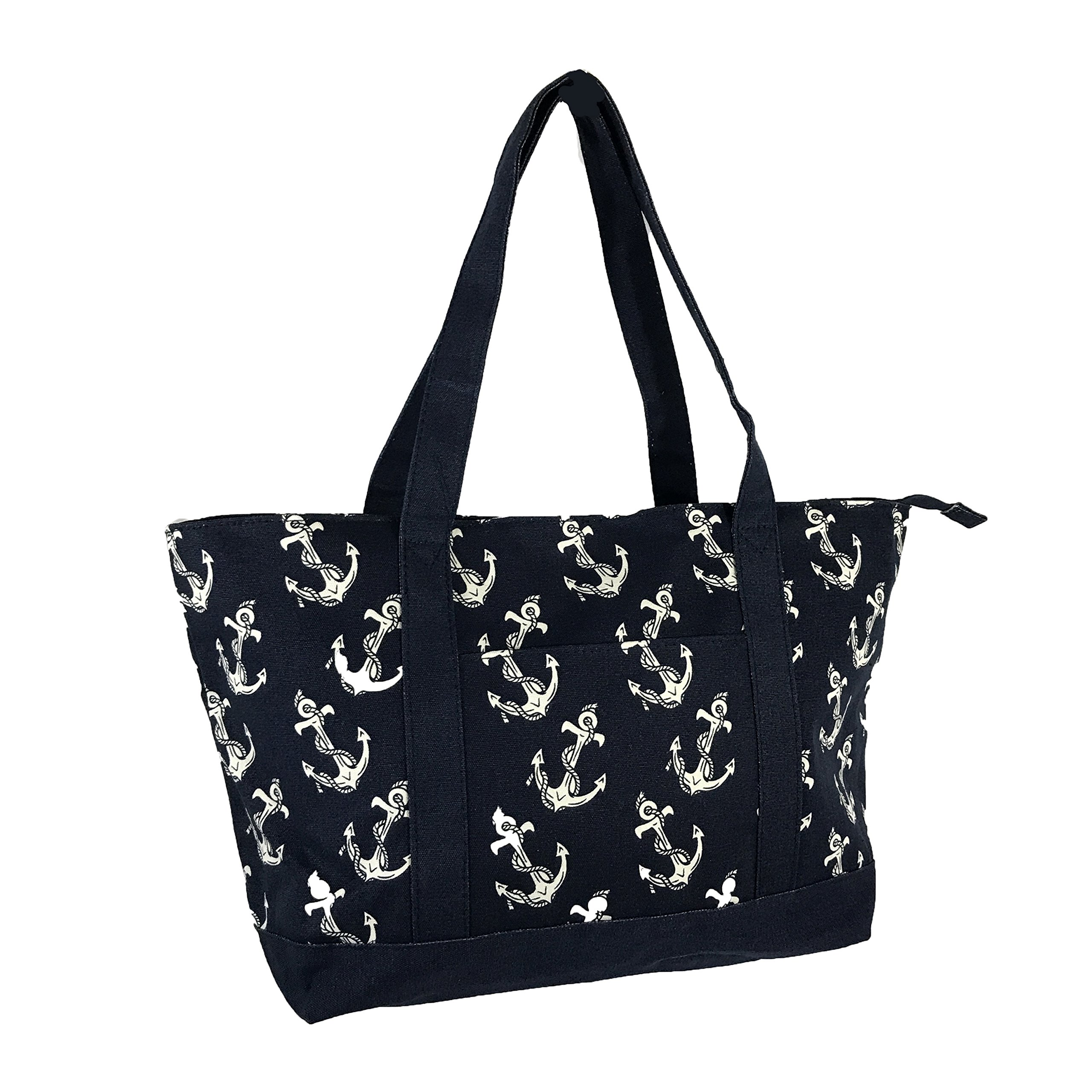 Allgala Extra Large Roomy Premium Canvas Tote Bag With Fashion Prints, Blue Anchors