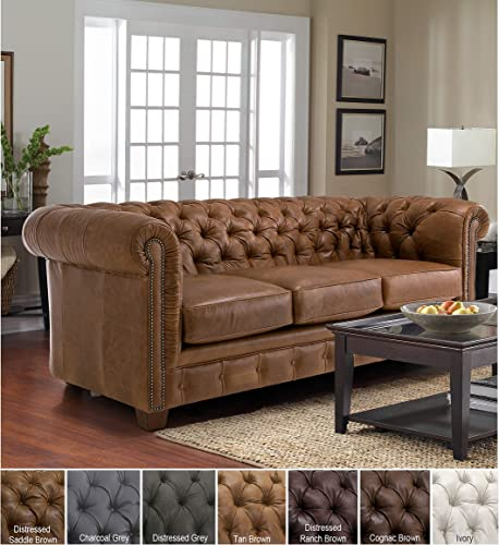 SOFAWEB.COM Hancock Tufted Top Grain Italian Leather Chesterfield Sofa Distressed Ranch Brown