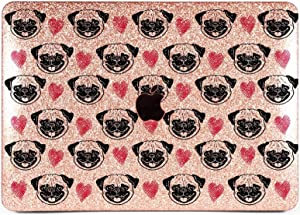 Lex Altern Glitter Case Compatible with MacBook Air 13 inch Pro Mac 15 Retina 12 11 2020 2019 2018 Cute Pug Rose Gold Dog Glossy Cover Hard Sparkly Shell Shiny Laptop Women Print Touch Bar Pattern