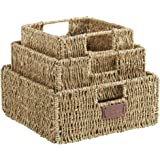 VonHaus Set of 3 Square Seagrass Storage Baskets with Insert Handles - Bathroom & Home Organizer Baskets