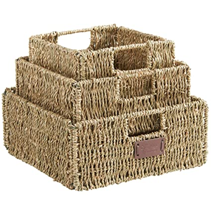 VonHaus Set Of 3 Square Seagrass Storage Baskets With Insert Handles Ideal  For Bathroom And Home