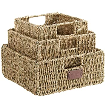 VonHaus Set Of 3 Square Seagrass Storage Baskets With Insert Handles    Bathroom U0026 Home Organizer
