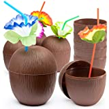 Prextex 18 Pack Coconut Cups for Hawaiian Luau Kids Party with Hibiscus Flower Straws - Tiki and Beach Theme Party Fun Drink