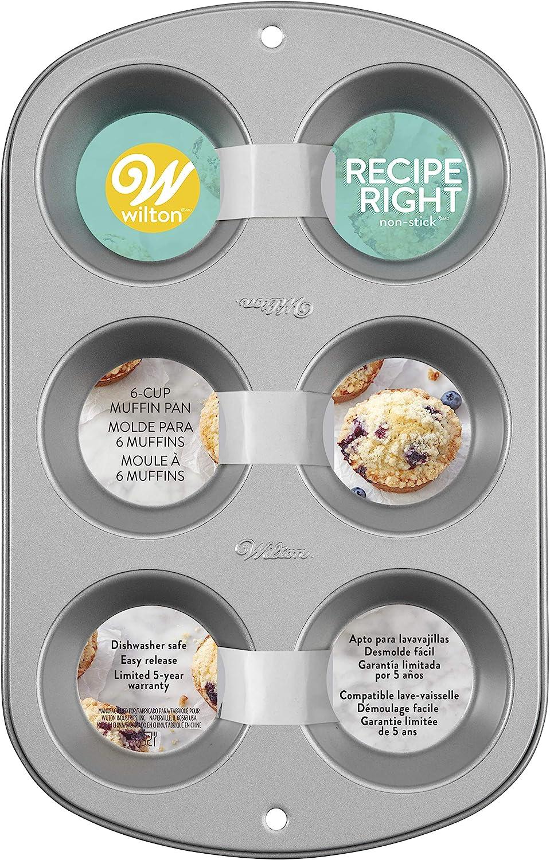 standard Wilton 2109-6829 Tin 12 alv/éoles emballage multiple de 2 Non Stick Holes antiadh/ésif Coloris Assortis Multipack of 2 Moule /à muffins Recipe Right