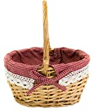 Mini Wicker Shopping Basket Shopper Storage Display with Cotton Lining (Single Small)