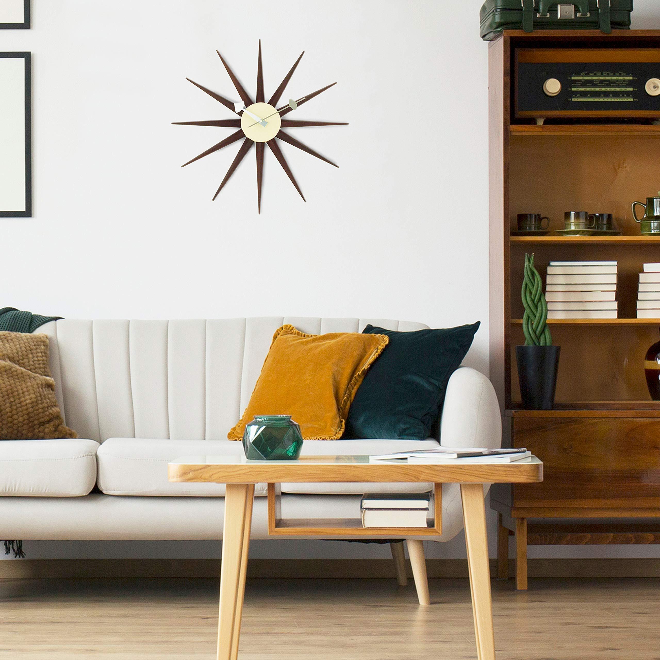 Telechron Classic Wooden Sunburst Clock, Walnut