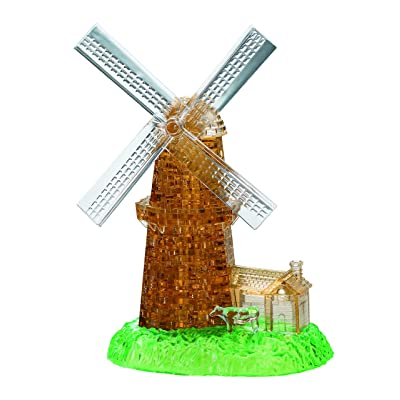 Bepuzzled Deluxe 3D Crystal Jigsaw Puzzle Kit - Windmill DIY Assembly Brain Teaser, Fun Model Toy Gift Decoration for Adults & Kids Age 12 and Up, 64 Pieces (Level 3): Toys & Games
