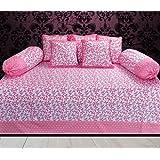 Hargunz Diwan-e-khas Cotton 8 Piece Diwan Set - Pink (dwn-combo-125-pink)