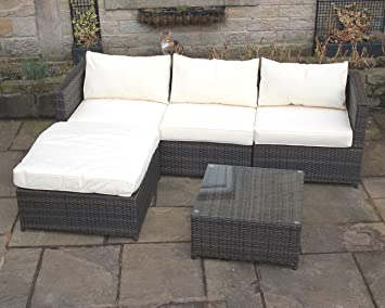 1378ae9b99df Brown Rattan 4 Seat Corner Sofa Set Garden Patio Furniture 195 ...