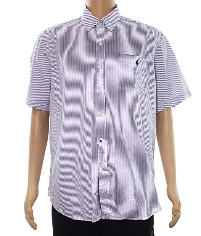 5a421134 Polo Ralph Lauren Mens Short Sleeve Seersucker Buttondown Shirt