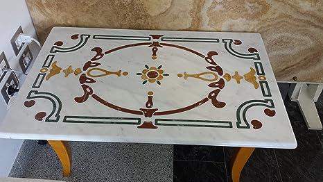 Tavoli Di Marmo Intarsiati : Tavolino rettangolare in marmo intarsiato da salotto spedizione