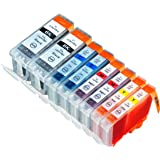 8 Pack Compatible CLI-8 , PGI-5 2 Cyan, 2 Magenta, 2 Yellow, 2 Big Black for use with Pixma iP3300, Pixma iP3500, Pixma MP510, Pixma MP 520, Pixma MX700. Ink Cartridges for inkjet printers. PGI-5-BK, CLI-8-C, CLI-8-M, CLI-8-Y Blake Printing Supply