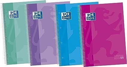 Oxford Classic 400073042 - Pack de 5 cuadernos espiral de tapa extradura, A4+: Amazon.es: Oficina y papelería