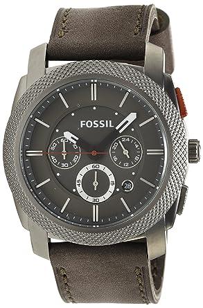 Fossil Machine FS4777 - Reloj analógico de cuarzo para hombre, correa de cuero color gris