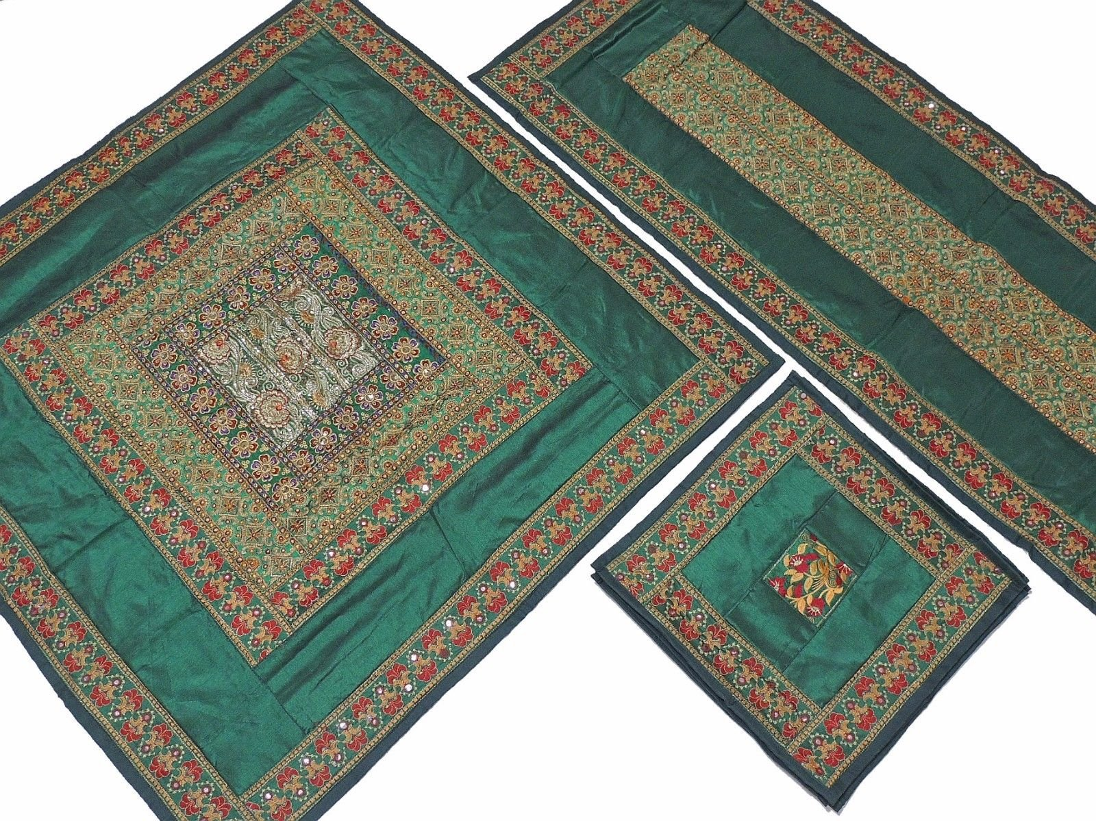 NovaHaat Pine Green Pretty Embroidered Tablecloth, Table Runner and 4 Placemats Set in Dupioni Art Silk from India ~ Tablecloth - 40 Inch, Runner - 60 Inch x 20 Inch, Placemats - 16 Inch
