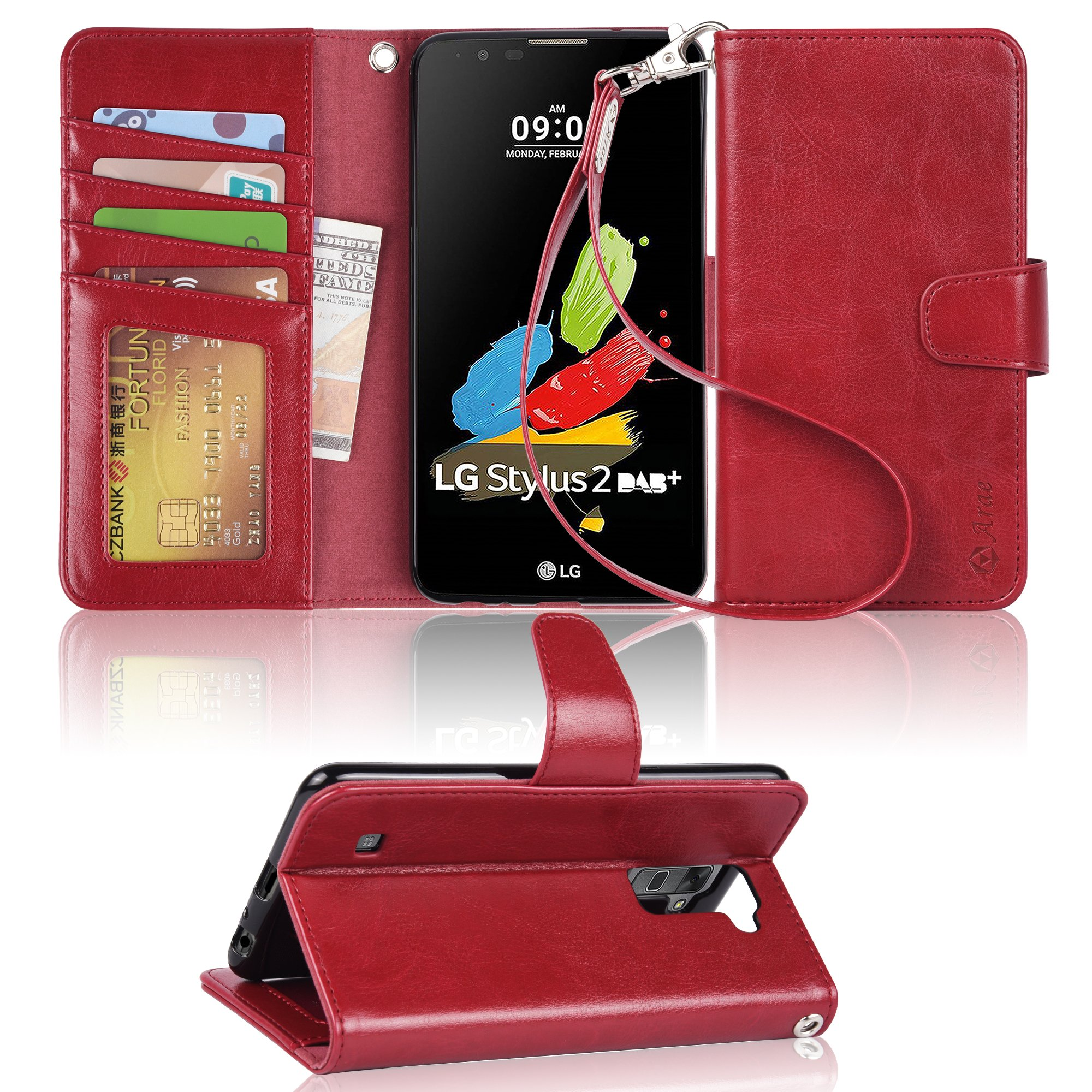 Arae LG G stylo 2/LG stylo 2/LG stylus 2 wallet case with Kickstand and flip cover (wine red)