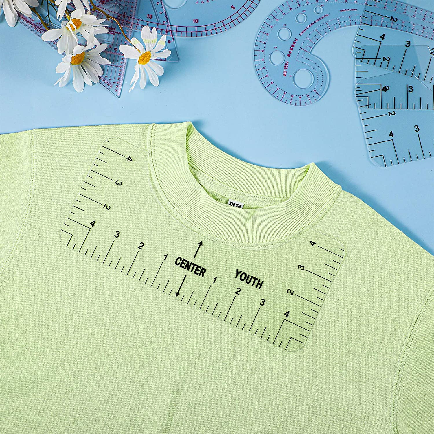 Craft Ruler with Guide Tool for Guiding T-Shirt Design 4 Pieces T-Shirt Alignment Rulers and 4 Pieces Sewing Ruler Tools Set Curve Shaped Measure Ruler for Sewing Dressmaking Tools
