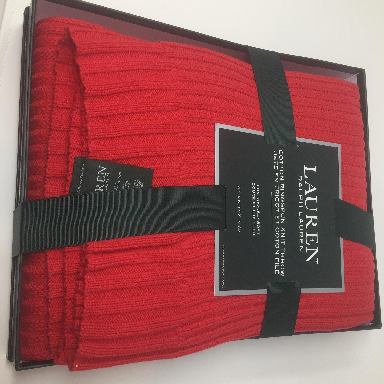 Ralph Lauren Cotton Throw Blanket 50 x 70 Knit Red RL Gift Box