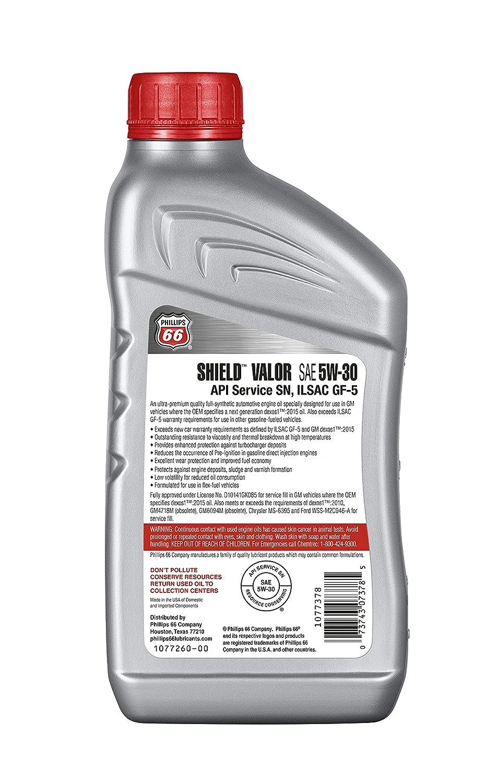 Amazon com: Phillips 66 1077378 Car Engine Oil (Shield Valor